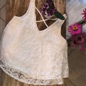 Cream lace top XS